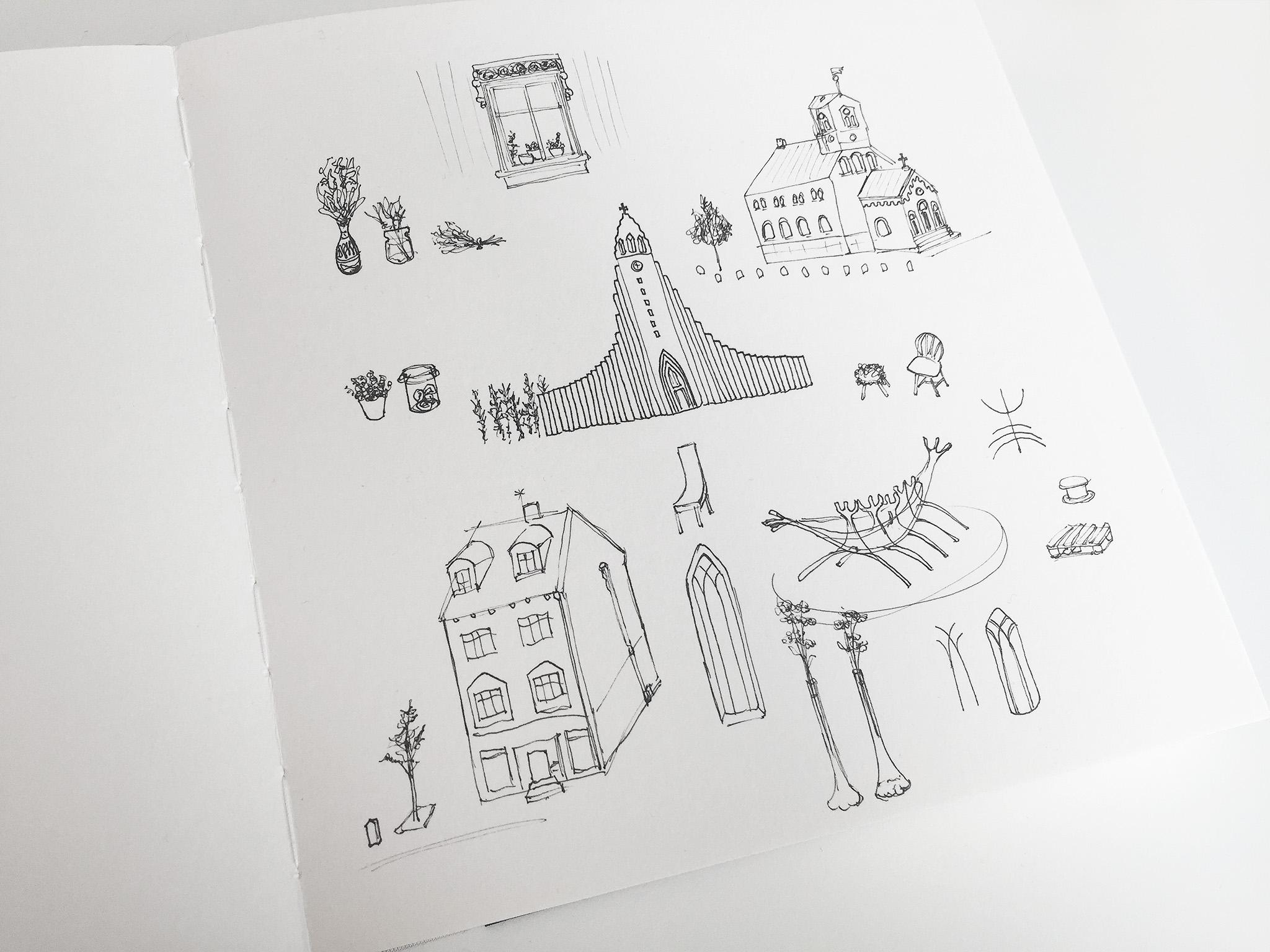 Island Reise Reykjavík Zeichnung Skizzenbuch Hannah Rauß noe.io